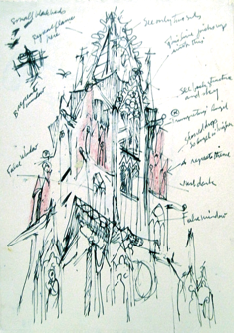 Freiburg Cathedral, drawing, ink on paper, 1958